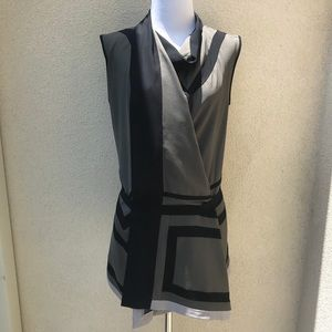 BCBGMaxAzria Runway Colorblock Wrap Blouse